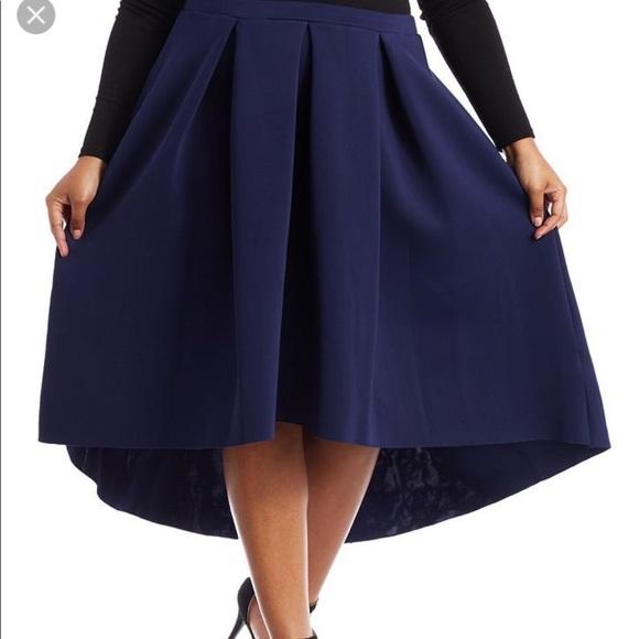 cff8e18c6b2 Charlotte Russe Dresses   Skirts - Plus Size Pleated Scuba Knit Skirt -Navy  3x